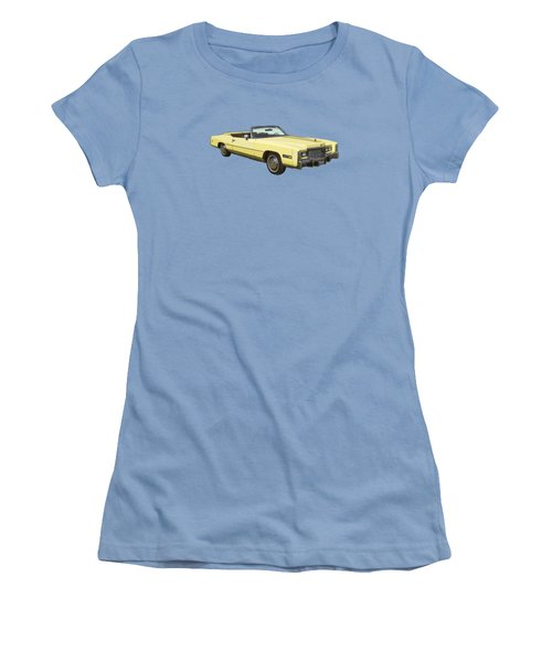 Yellow 1975 Cadillac Eldorado Convertible Women's T-Shirt (Junior Cut) by Keith Webber Jr