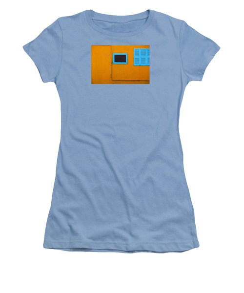 Yellow Wall, Blue Trim Women's T-Shirt (Athletic Fit)