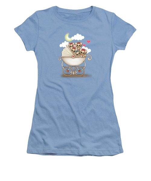 Yorkie Babies Strolling  Women's T-Shirt (Junior Cut) by Catia Cho