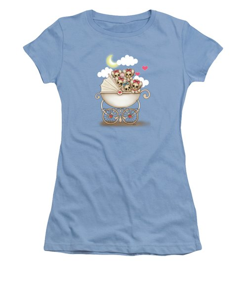 Yorkie Babies Strolling  Women's T-Shirt (Athletic Fit)