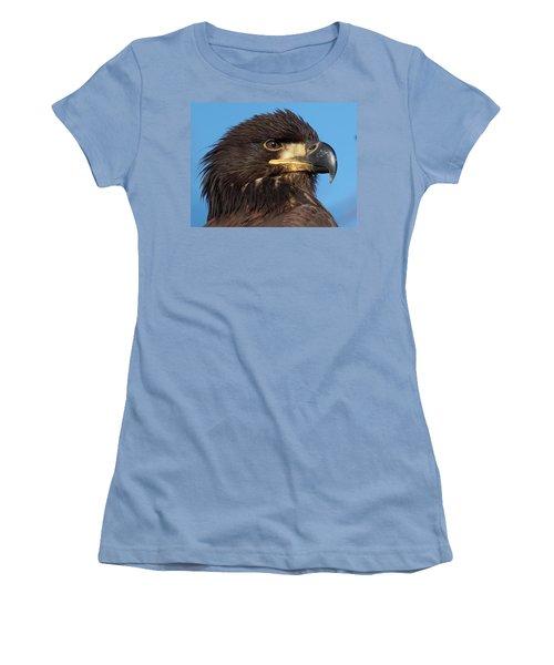Young Eagle Head Women's T-Shirt (Junior Cut) by Sheldon Bilsker
