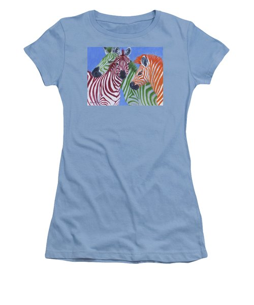 Women's T-Shirt (Athletic Fit) featuring the painting Zzzebras by Jamie Frier