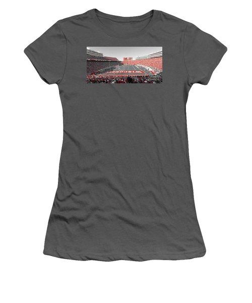 0095 Badger Football  Women's T-Shirt (Junior Cut) by Steve Sturgill