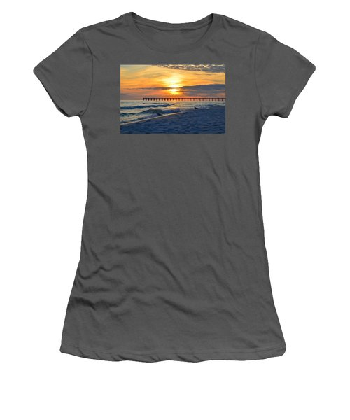 0108 Sunset Colors Over Navarre Pier On Navarre Beach With Gulls Women's T-Shirt (Junior Cut) by Jeff at JSJ Photography