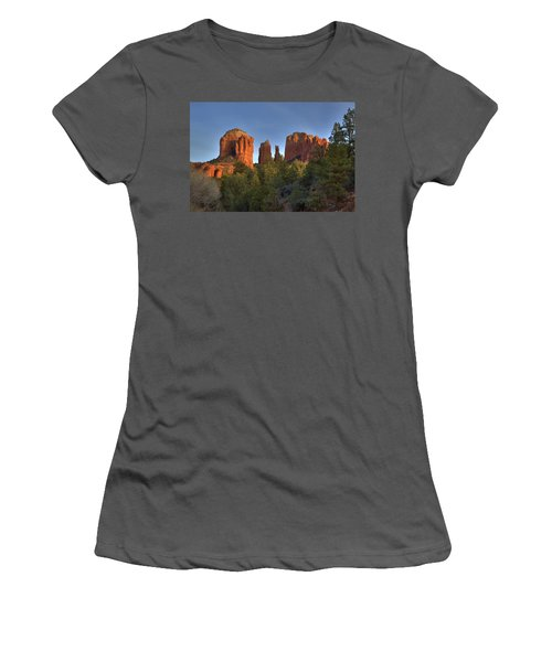 Women's T-Shirt (Junior Cut) featuring the photograph Cathedral Rocks In Sedona by Alan Vance Ley