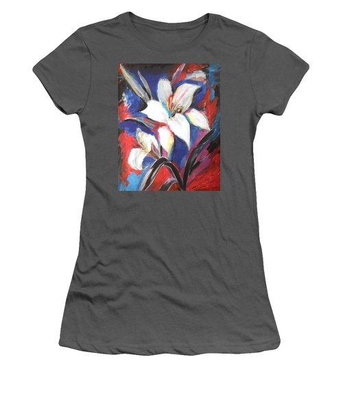 Fair Pure Fragile White Lilies Women's T-Shirt (Junior Cut) by Esther Newman-Cohen