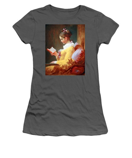 Women's T-Shirt (Junior Cut) featuring the photograph Fragonard's Young Girl Reading by Cora Wandel