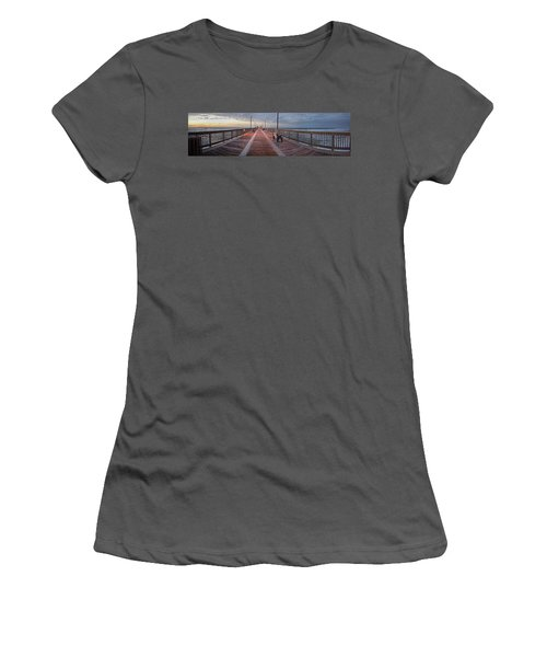 Women's T-Shirt (Junior Cut) featuring the digital art Gulf State Pier by Michael Thomas