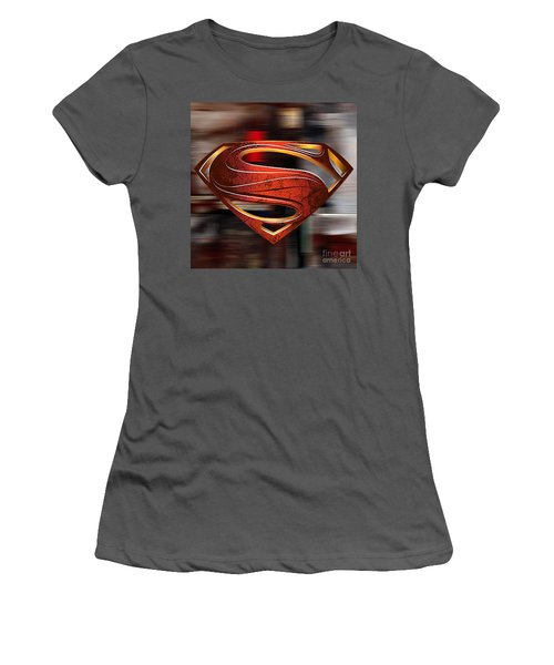 Women's T-Shirt (Junior Cut) featuring the mixed media Man Of Steel Superman by Marvin Blaine