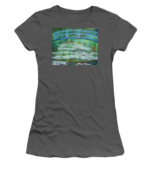 Women's T-Shirt (Junior Cut) featuring the photograph Monet's The Japanese Footbridge by Cora Wandel
