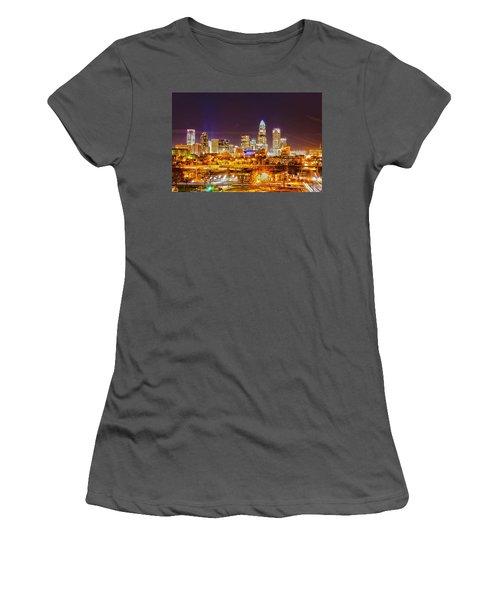 Women's T-Shirt (Junior Cut) featuring the photograph Skyline Of Uptown Charlotte North Carolina At Night by Alex Grichenko