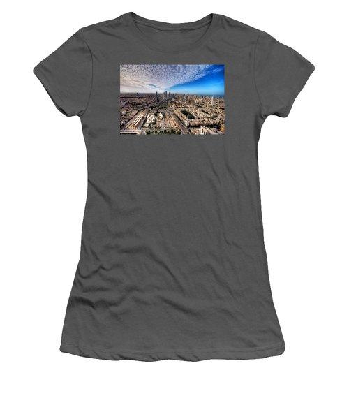 Tel Aviv Skyline Women's T-Shirt (Junior Cut) by Ron Shoshani