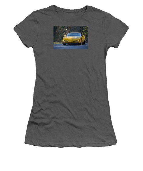 Yellow Corvette Women's T-Shirt (Junior Cut) by Mike Martin