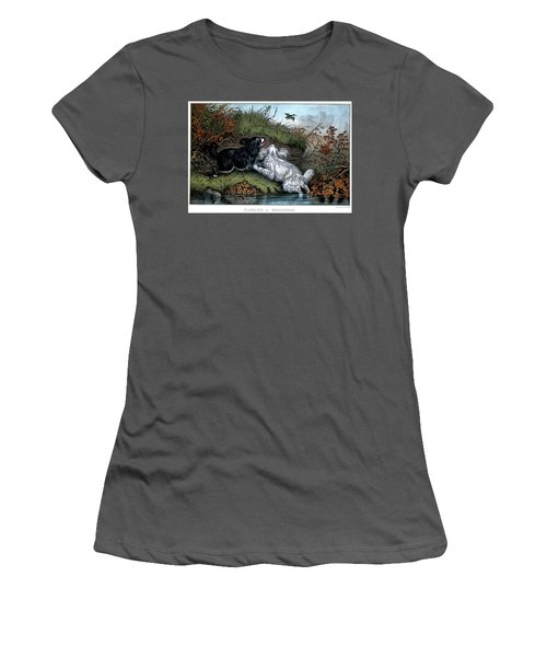 1860s Two Spaniel Dogs Flushing Women's T-Shirt (Athletic Fit)