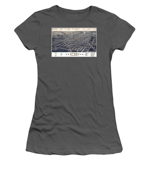 1880 Birds Eye Map Of Ann Arbor Women's T-Shirt (Athletic Fit)