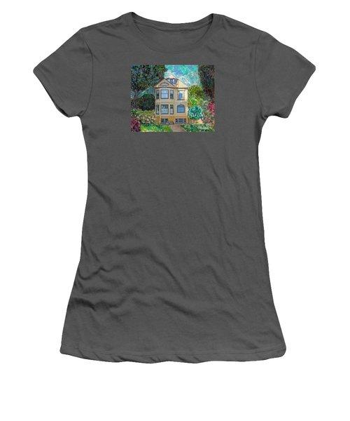 Women's T-Shirt (Junior Cut) featuring the mixed media Alameda 1895 Quenn Anne by Linda Weinstock