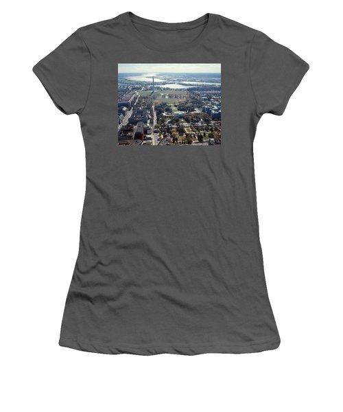 1960s Aerial View Washington Monument Women's T-Shirt (Athletic Fit)