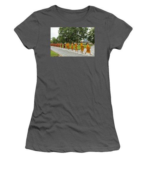 Buddhist Monks In Battambang Cambodia Women's T-Shirt (Athletic Fit)