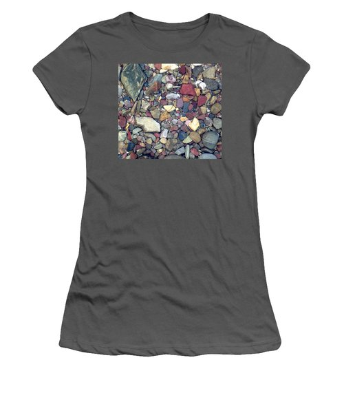 Women's T-Shirt (Junior Cut) featuring the photograph Colorful Lake Rocks by Kerri Mortenson