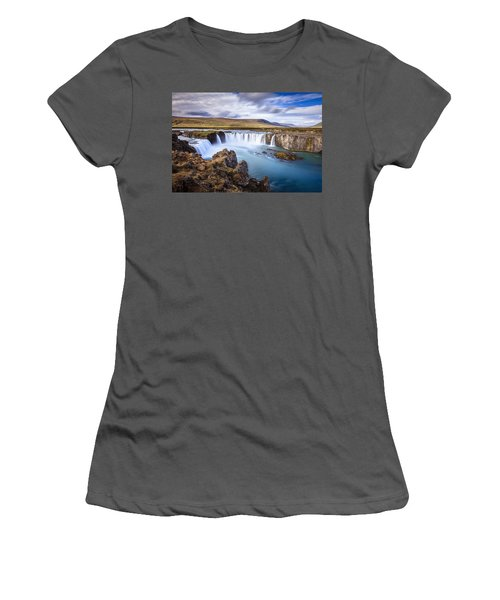 Godafoss Waterfall Women's T-Shirt (Athletic Fit)