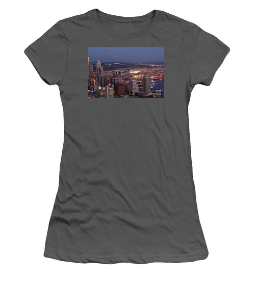 Seattle Skyline With Mount Rainier And Downtown City Lights Women's T-Shirt (Athletic Fit)