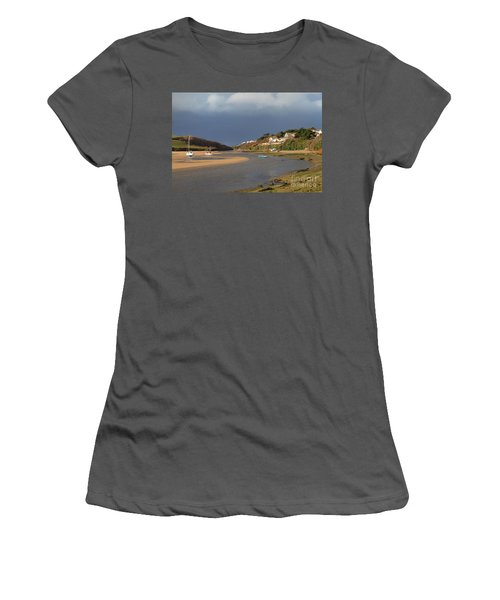 Women's T-Shirt (Junior Cut) featuring the photograph Storm Approaches The Gannel Estuary Newquay Cornwall by Nicholas Burningham