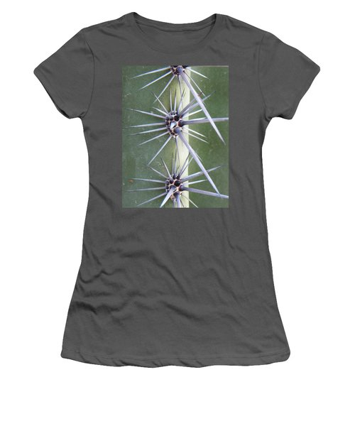 Women's T-Shirt (Junior Cut) featuring the photograph Cactus Thorns by Deb Halloran
