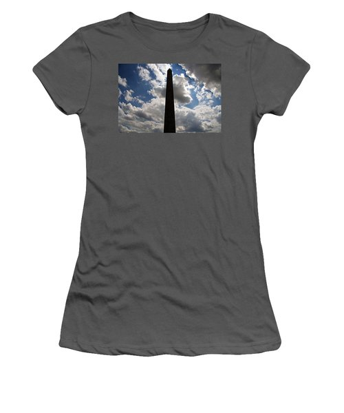 Women's T-Shirt (Junior Cut) featuring the photograph Silhouette Of The Washington Monument by Cora Wandel