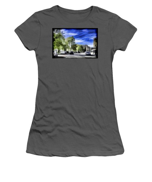 Cars On A Street In Edinburgh Women's T-Shirt (Athletic Fit)