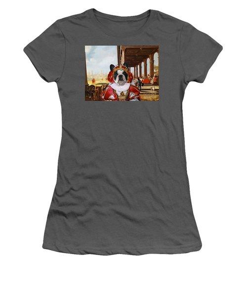 French Bulldog Art Canvas Print Women's T-Shirt (Athletic Fit)