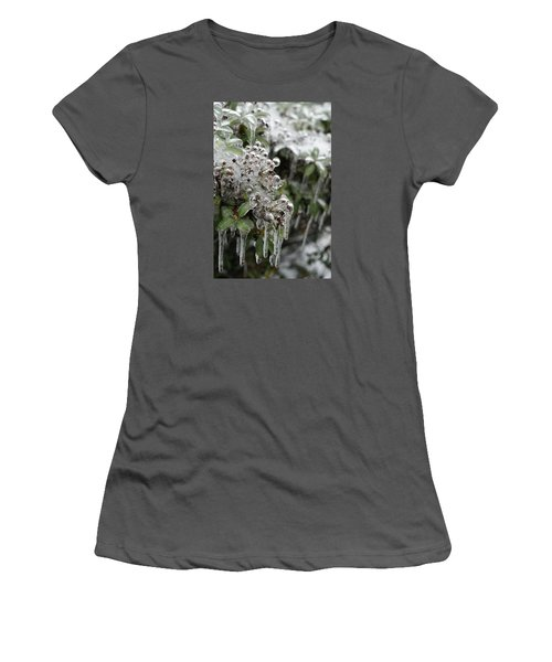 Women's T-Shirt (Junior Cut) featuring the photograph Ice  by Heidi Poulin