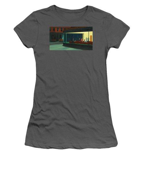 Nighthawks Women's T-Shirt (Junior Cut) by Edward Hopper