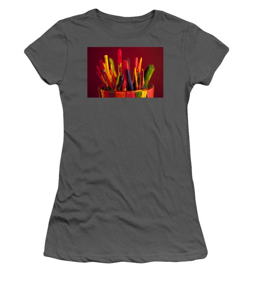 Multi Colored Paint Brushes Women's T-Shirt (Athletic Fit)