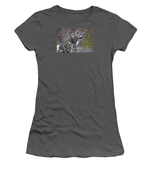 Women's T-Shirt (Junior Cut) featuring the photograph A Snow Leopards Tongue by David Millenheft