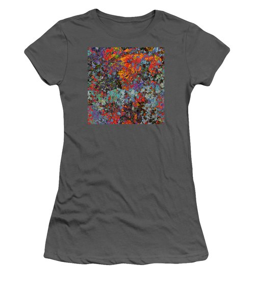 Women's T-Shirt (Junior Cut) featuring the mixed media Abstract Spring by Ally  White