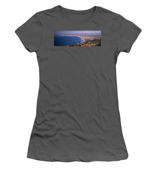 Aerial View Of A City At Coast, Santa Women's T-Shirt (Athletic Fit)