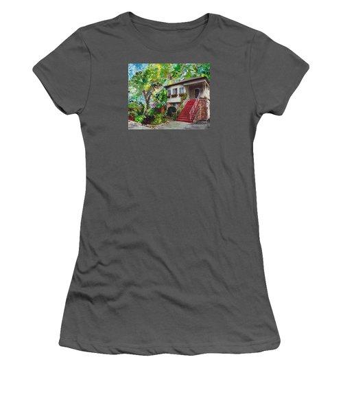 Women's T-Shirt (Junior Cut) featuring the painting Alameda 1908 Duplex by Linda Weinstock