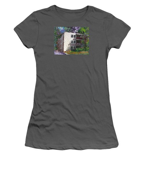 Women's T-Shirt (Junior Cut) featuring the painting Alameda 1964 Apartment Architecture   by Linda Weinstock