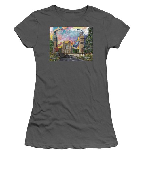 Women's T-Shirt (Junior Cut) featuring the painting Alameda Webster Posey Tube Portal 1928 by Linda Weinstock