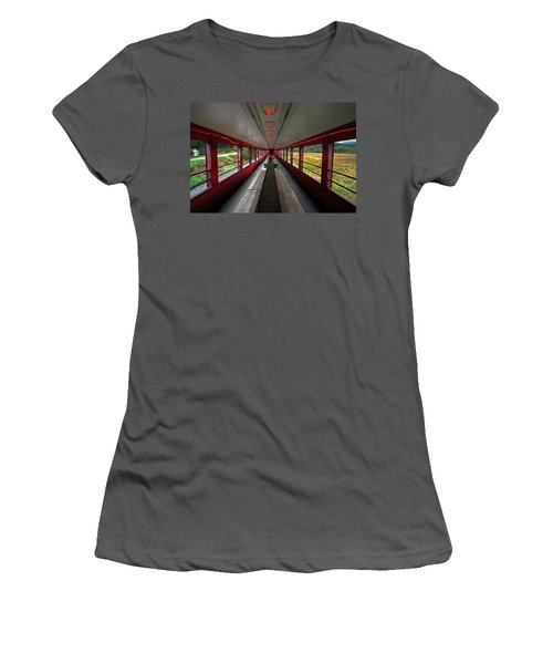 Women's T-Shirt (Junior Cut) featuring the photograph All Aboard Tioga Central Railroad by Suzanne Stout