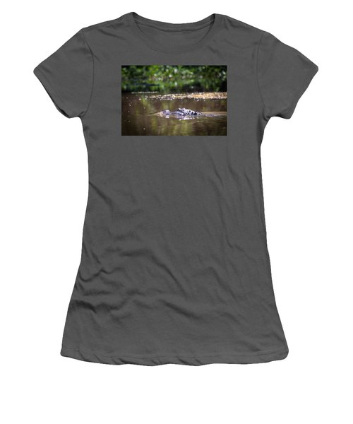 Alligator Swimming In Bayou 1 Women's T-Shirt (Athletic Fit)
