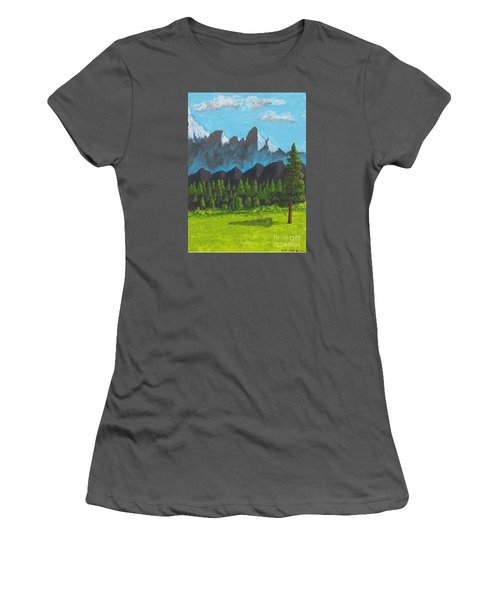 Women's T-Shirt (Junior Cut) featuring the painting Alpine Meadow by David Jackson