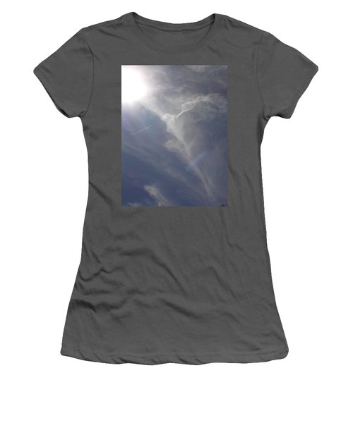 Angel Holding Light Women's T-Shirt (Junior Cut) by Deborah Moen