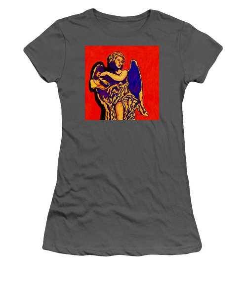 Angel On Red Women's T-Shirt (Athletic Fit)