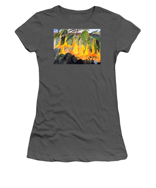 Angel Trumpets Women's T-Shirt (Junior Cut) by Sandy McIntire