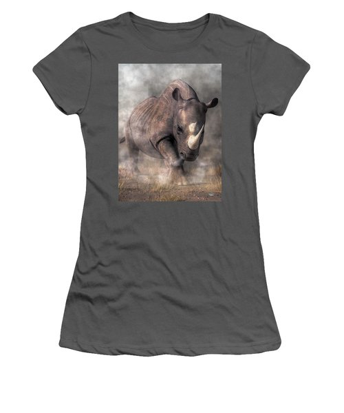 Angry Rhino Women's T-Shirt (Athletic Fit)