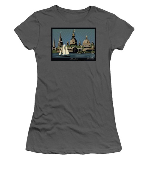 Annapolis Steeples And Cupolas Serenity With Border Women's T-Shirt (Athletic Fit)