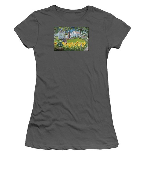Women's T-Shirt (Junior Cut) featuring the painting Annie's Summer Cottage by Rita Brown