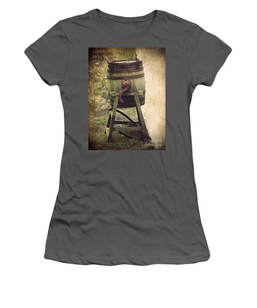 Women's T-Shirt (Junior Cut) featuring the photograph Antique Butter Churn by Linsey Williams
