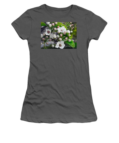 Women's T-Shirt (Junior Cut) featuring the photograph Apple Blossoms In Oil by Nina Silver